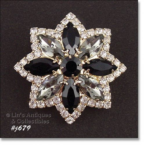 EISENBERG ICE VINTAGE STAR JET CRYSTAL AND BLACK RHINESTONE PIN