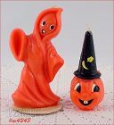 GURLEY GHOST AND WIZARD JACK-O-LANTERN VINTAGE HALLOWEEN CANDLES