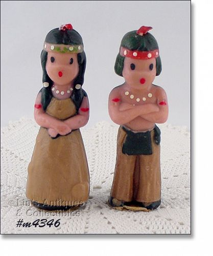 GURLEY CANDLE NATIVE AMERICAN BOY AND GIRL VINTAGE CANDLES