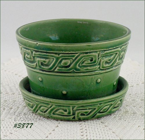 McCOY POTTERY GREEN GREEK KEY 3 1/4 INCH TALL FLOWERPOT