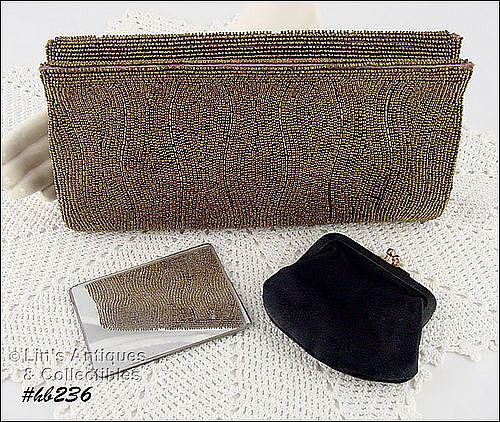 VINTAGE JOSEF BEADED CLUTCH HANDBAG BY BONWIT TELLER