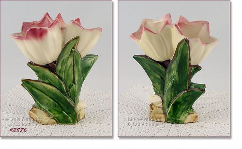 McCOY POTTERY � DOUBLE TULIP VASE (MAUVE TIPS)