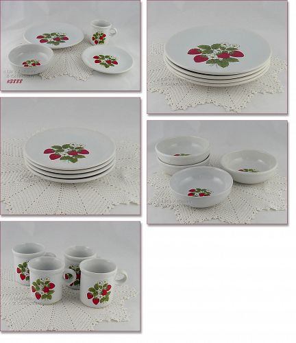 McCOY POTTERY STRAWBERRY COUNTRY 16 PIECE DINNERWARE SERVICE FOR 4