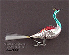 VINTAGE GLASS SWAN CHRISTMAS ORNAMENT / CLIP