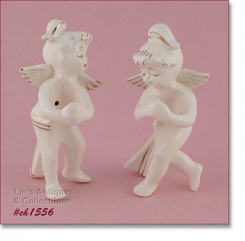 VINTAGE ANGEL CANDLE HOLDERS IN ORIGINAL BOX