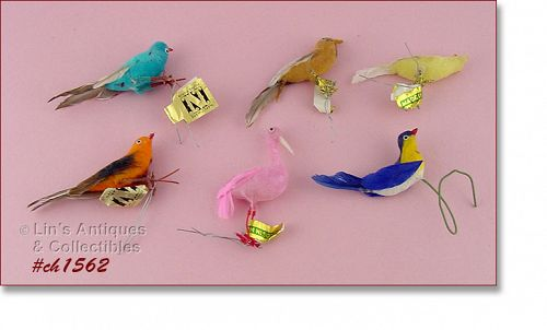 6 LITTLE BIRD ORNAMENTS (NAPCOWARE, ETC).
