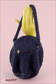 VINTAGE NAVY BLUE BEADED HANDBAG BY JOSEF MADE IN ITALY