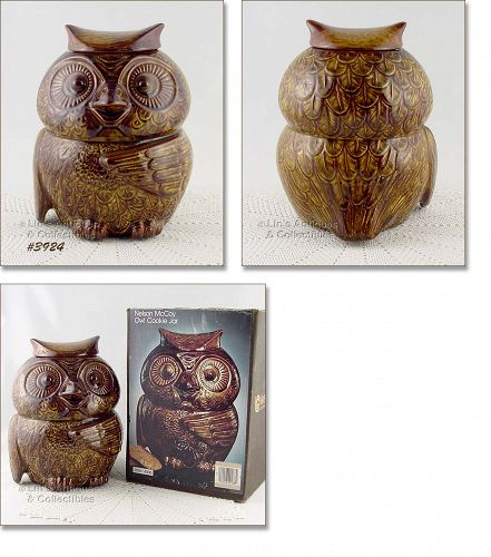 McCOY POTTERY VINTAGE OWL COOKIE JAR MINT IN ORIGINAL BOX
