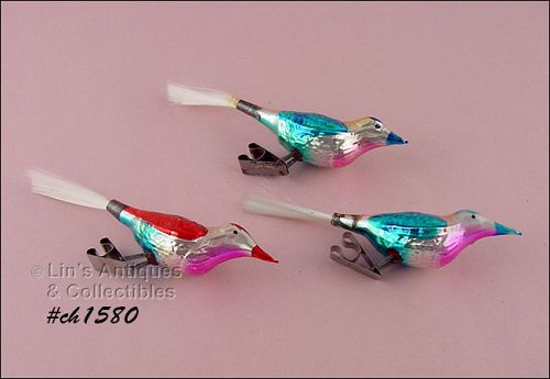 3 BIRD SHAPED CLIPS / ORNAMENTS