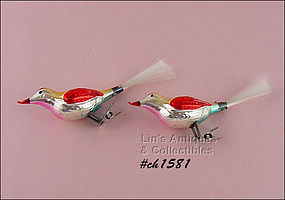 PAIR OF GLASS BIRD SHAPED CLIPS / ORNAMENTS