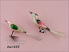 TWO GLASS BIRD SHAPED CLIPS / ORNAMENTS