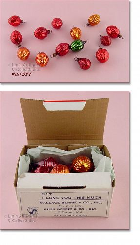 MINI BERRY SHAPED ORNAMENTS IN ORIGINAL BOX