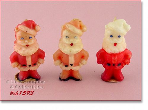 VINTAGE GURLEY LOT OF THREE CHRISTMAS SANTA CANDLES