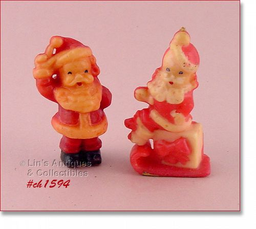 VINTAGE GURLEY AND TAVERN CANDLES SANTA ON PACKAGE AND WAVING SANTA