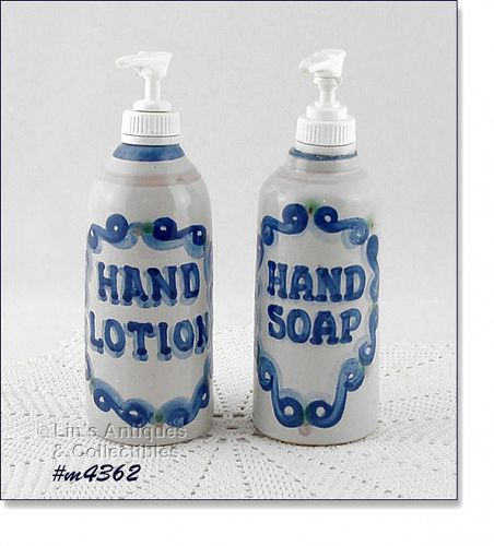 M.A. HADLEY LOUISVILLE STONEWARE LOTION AND HAND SOAP DISPENSERS