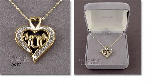 1/4 CT(.25) 10 KT YELLOW GOLD DIAMOND �MOM� NECKLACE