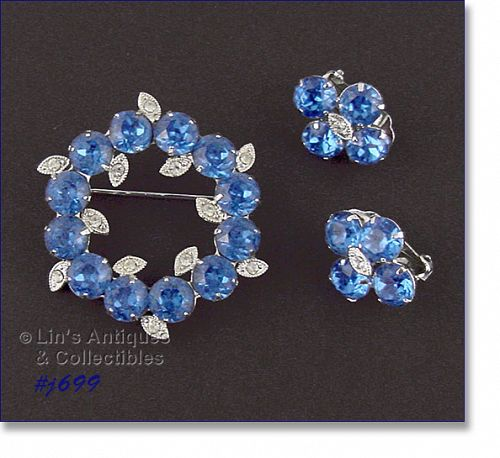 EISENBERG ICE BLUE RHINESTONES PIN AND MATCHING CLIP BACK EARRINGS