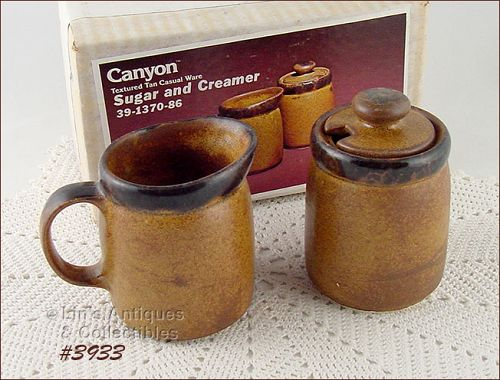 McCOY POTTERY -- CANYON CREAMER AND SUGAR MINT IN ORIGINAL BOX