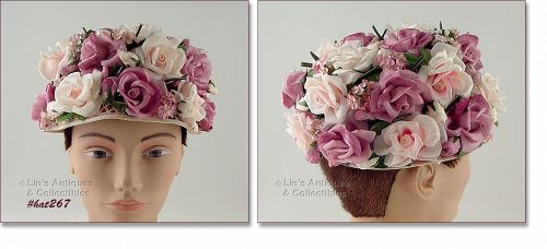 VINTAGE HAT WITH MAUVE AND PEACH COLOR ROSES