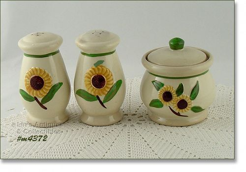 SHAWNEE POTTERY SUNFLOWER SUGAR AND SHAKER SET