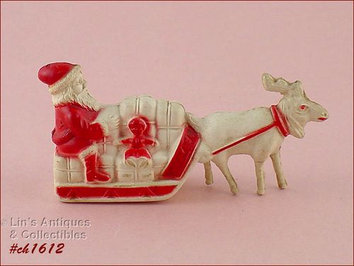 VINTAGE TINY SANTA IN SLEIGH PLASTIC COULD BE CELLULOID