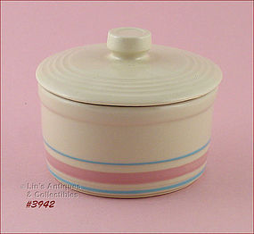 McCOY POTTERY � PINK AND BLUE MARGARINE CONTAINER