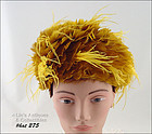 VINTAGE HAT WITH GOLD COLOR FEATHERS