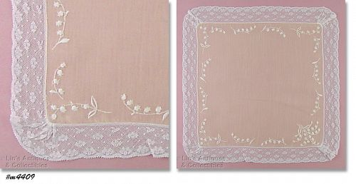 WEDDING HANKY WITH LILY OF THE VALLEY