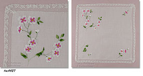 EMBROIDERED DOGWOOD BLOOMS ON WHITE HANKY