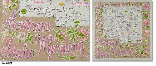 STATE SOUVENIR HANKY, MONTANA, WYOMING, AND IDAHO