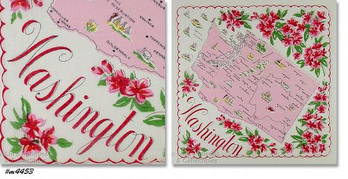 STATE SOUVENIR HANDKERCHIEF, WASHINGTON