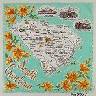 STATE SOUVENIR HANDKERCHIEF, SOUTH CAROLINA