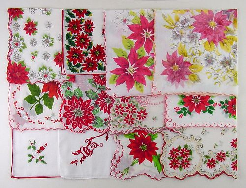 LOT OF ONE DOZEN ASSORTED VINTAGE CHRISTMAS HANKIES HANDKERCHIEFS