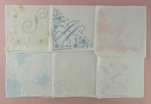 CHOICE OF VINTAGE MADEIRA MONOGRAM HANDKERCHIEFS (SOME HAVE BEEN SOLD