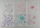 LOT OF SIX LARGER SIZE VINTAGE MADEIRA HANKIES HANDKERCHIEFS