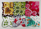 LOT OF SIX BEAUTIFUL COLORFUL FALL LEAVES HANDKERCHIEFS HANKIES