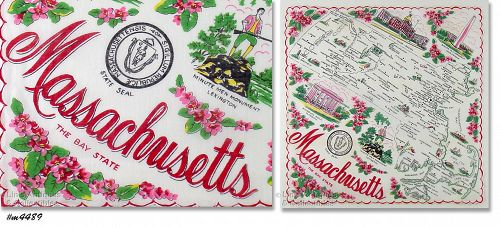 "STATE SOUVENIR HANDKERCHIEF, MASSACHUSETTS ""THE BAY STATE"""