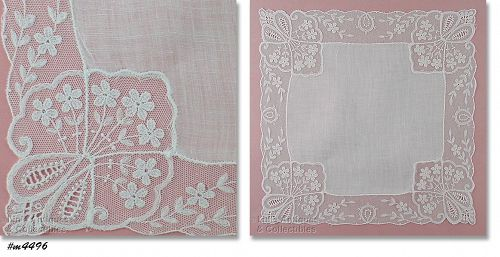 WHITE WEDDING HANDKERCHIEF WITH LACE EDGING