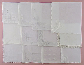 ONE DOZEN WHITE / WEDDING VINTAGE HANKIES HANDKERCHIEFS
