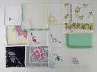 ONE DOZEN VINTAGE BARELY IMPERFECT HANKIES FOR RE-PURPOSING OR CRAFTS