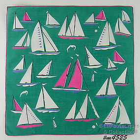 GORGEOUS SAILBOATS VINTAGE HANDKERCHIEF