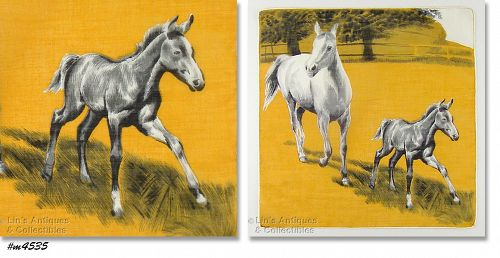 MARE AND COLT VINTAGE DEPOSE' HANDKERCHIEF HANKY