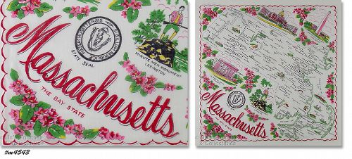 STATE SOUVENIR HANKY, MASSACHUSETTS �THE BAY STATE�