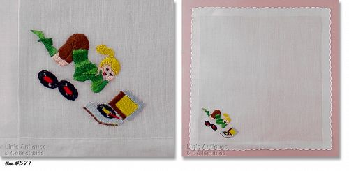 VINTAGE WHITE HANKY WITH EMBROIDERED RECORD PLAYER TEEN GIRL