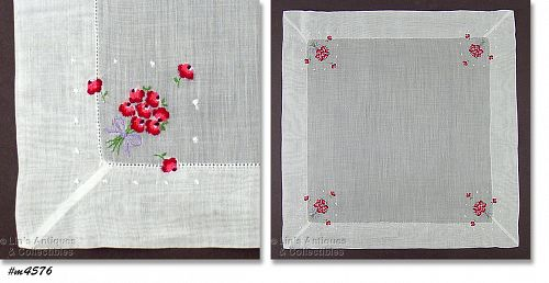 VINTAGE WEDDING HANKY WITH BOUQUETS OF PETIT POINT FLOWERS