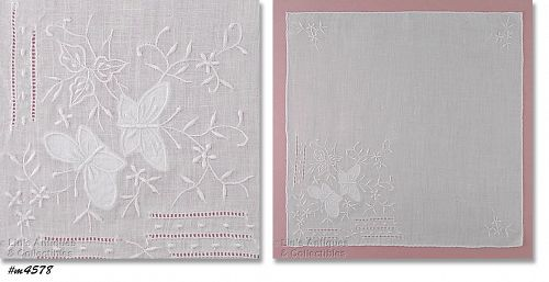 VINTAGE WHITE MADEIRA HANDKERCHIEF WITH WHITE BUTTERFLIES