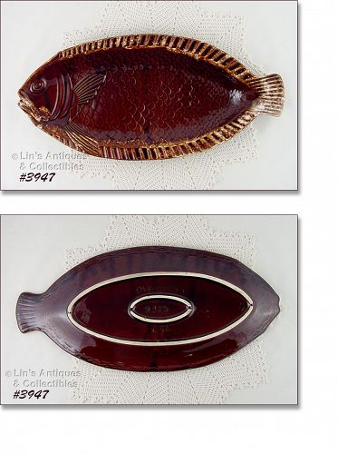 McCOY POTTERY LARGE BROWN DRIP FISH SHAPED VINTAGE PLATTER