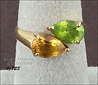 CITRINE AND PERIDOT 14KT YELLOW GOLD RING SIZE 7