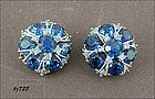 LEDO BLUE RHINESTONES CLIP STYLE EARRINGS