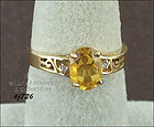CITRINE AND DIAMOND 10KT YELLOW GOLD RING SIZE 7